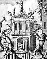 Puritans destroying church imagery in the 17th century