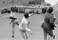 Striking miners clash with police in Wooley, Yorkshire, 1984