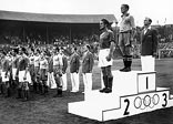Medal ceremony for the 1948 Olympic football tournament