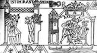 Black and white illustration showing Harold's coronation