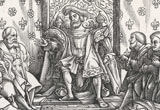 Woodcut of Henry VIII in his council chamber