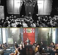 Top image,  Governor General Hans Frank, speaks about the likely fate of the Jews. The bottom image shows the series reconstruction