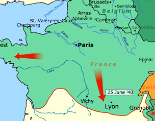 The allies by surprise and germany occupied france within six weeks