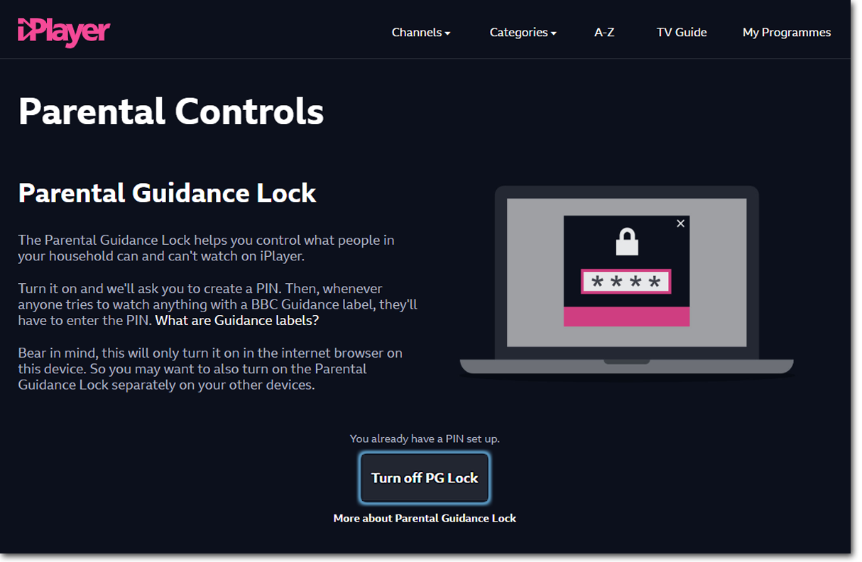 "Parental Controls page on the BBC iPlayer website with ""Turn off PG Lock"" toggle highlighted"