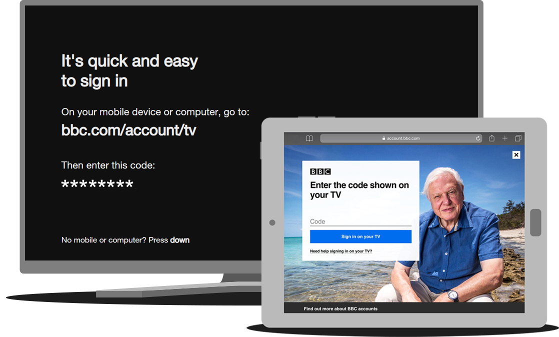 TV and tablet showing respective sign-in pages when signing in on a TV