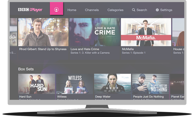 BBC iPlayer app homescreen on TV with BBC account icon highlighted