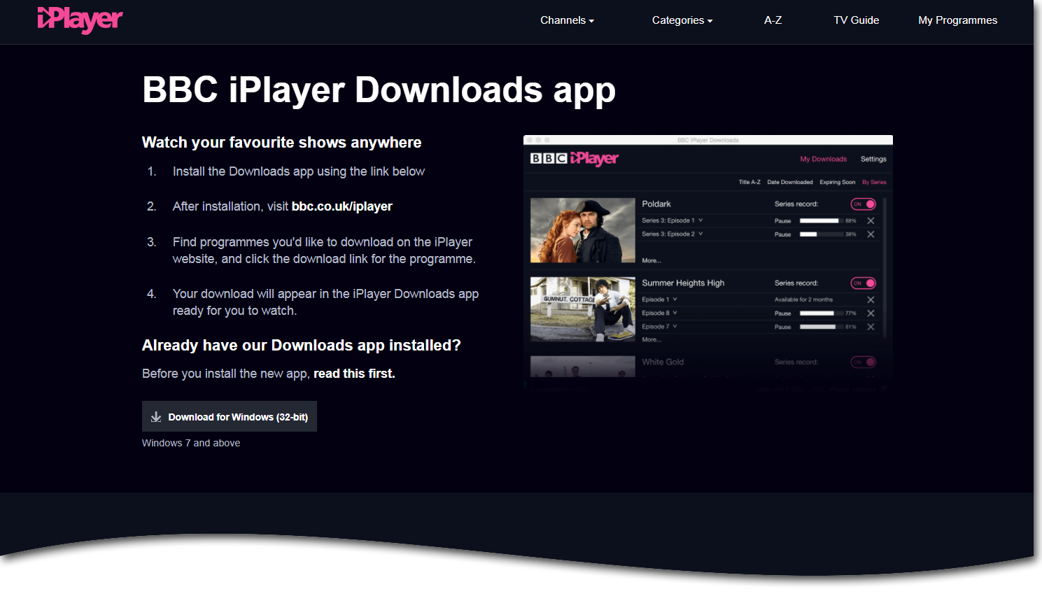 Installation page on BBC iPlayer website for BBC iPlayer Downloads application