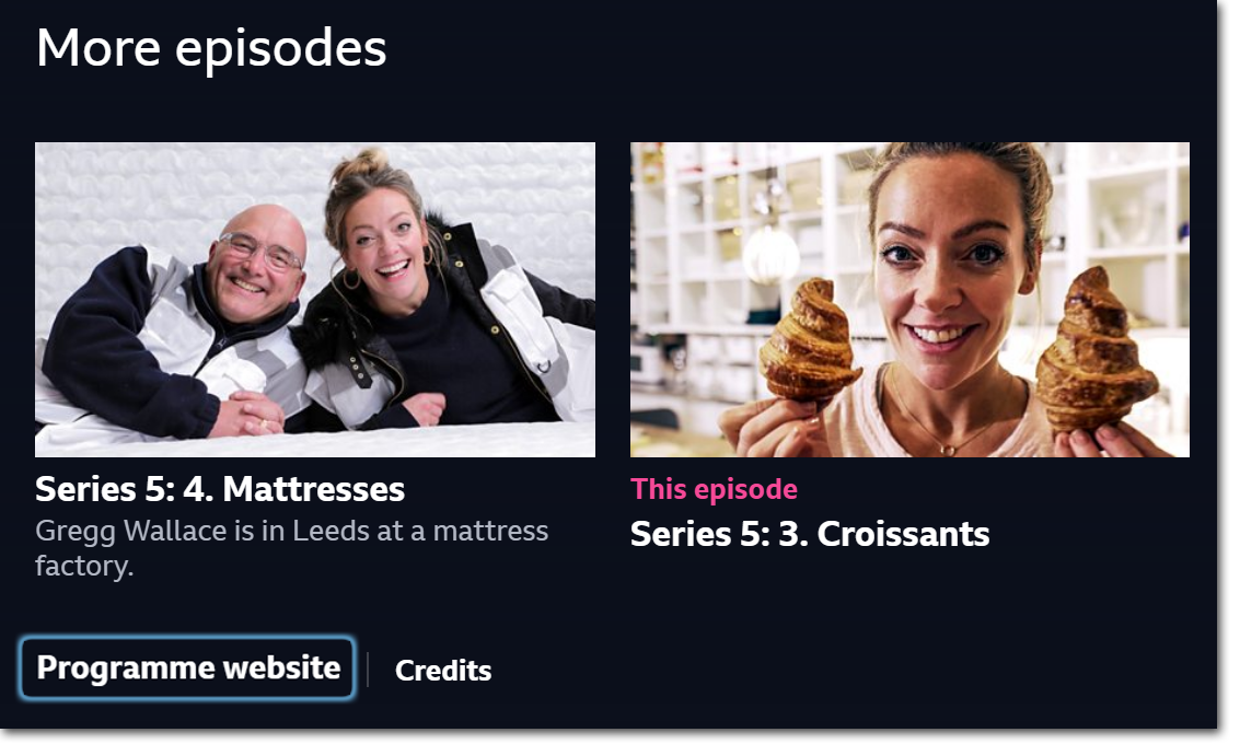 Screenshot of BBC iPlayer website showing link to Inside the Factory's programme website