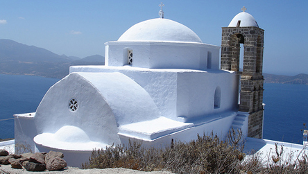 Basic phrases. Church, Milos, Cyclades, Greece  © Annabel Else