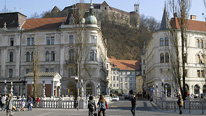 General view of the main town square of Ljubljana, capital city of Slovenia. copyright BBC / Fred Adler