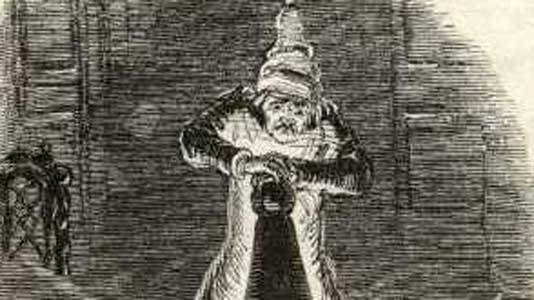 Scrooge extinguishes the first of the 3 spirits. By John Leech, from the 1843 first edition.