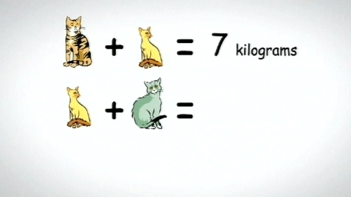 Problem solving using basic algebra - finding the weight of three cats