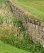 The ha-ha wall at Seaton Delaval Hall