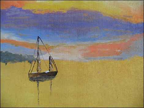 Drawing of a boat at sunset