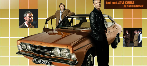 Characters DI Sam tyler and DCI Gene Hunt standing infront of a 70s car