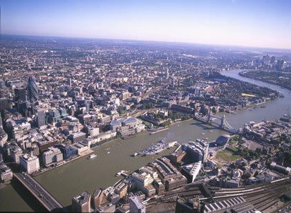 london bridge tower. Aerial view of London Bridge,