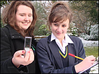 Sophie, Y12 and Sarah Y10 take temperature readings