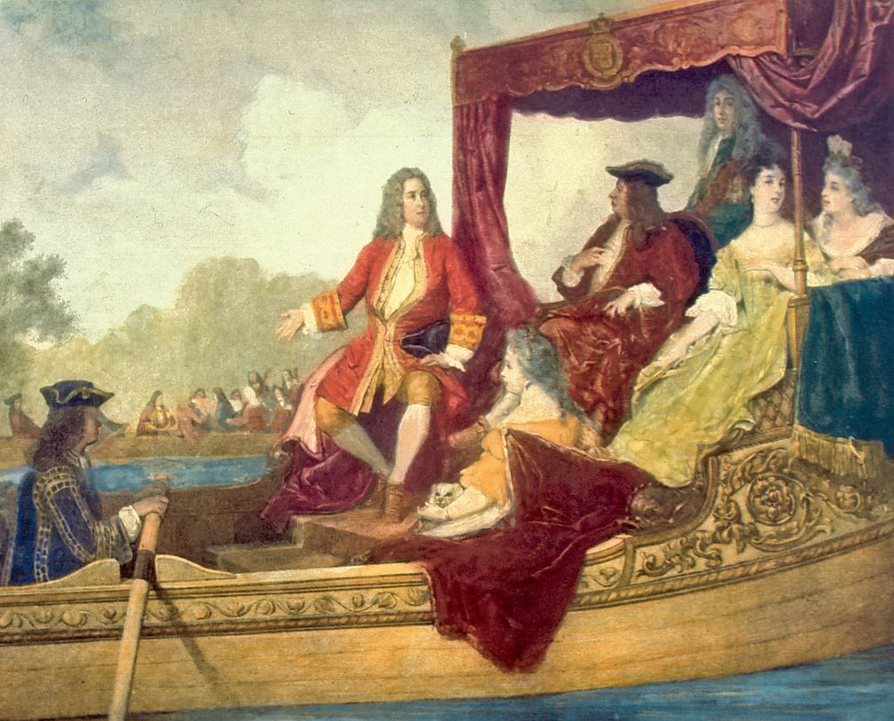 Handel (left) and King George I on the River Thames, 17 July 1717. Painting by Edouard Hamman (1819–88)
