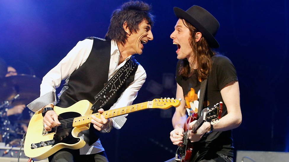 James Bay playing with Keith's fellow Stone Ron Wood