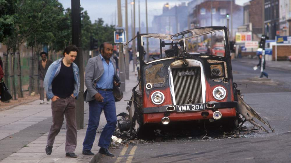 Aftermath of riots in Toxteth, Liverpool in 1981