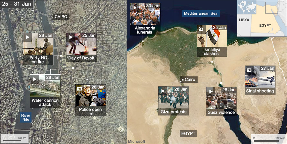 BBC News - Egypt's revolution: Interactive map