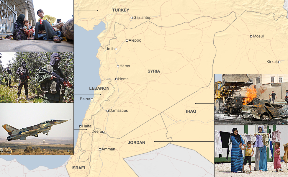 Bbc news how syria conflict affects its neighbours map of syria and neighbouring countries gumiabroncs Gallery