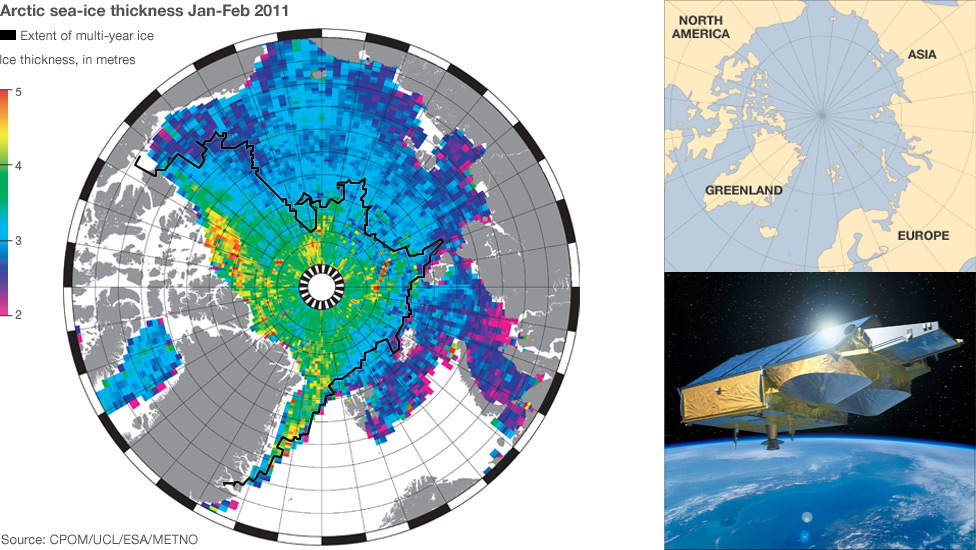 Map showing ice thickness in the Arctic