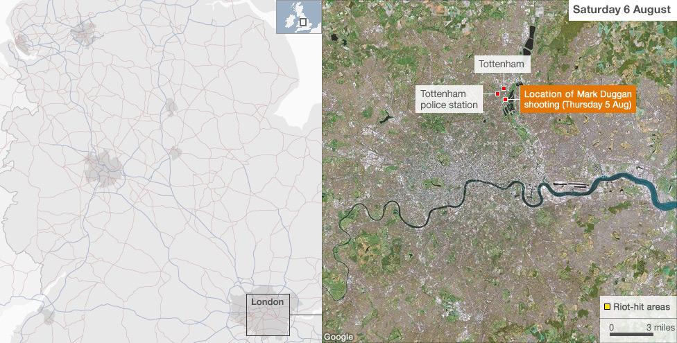 Tottenham London Map.Bbc News How The Riots Spread