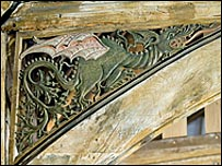 Dragon carving in the Great Hall at Dragon Hall, Norwich