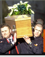 Image of men carrying coffin of sectarian murder victim