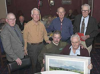 The 'Old Ironsides'  receive a painting of the Mourne Mountains, presented  by RSM Thompson at BallyKinlar Camp