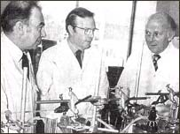 Dr Stewart Adams (right) in the 1960s