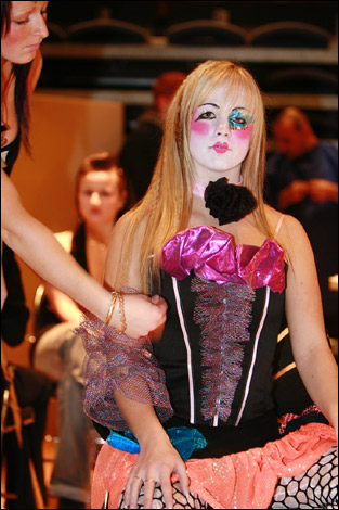 Trade Show Attendee in Clown Dress