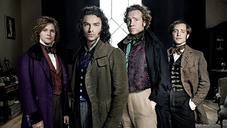 (l-r) Samuel Barnett as John Millais, Aidan Turner as Dante Gabriel Rossetti, Rafe Spall as William Holman Hunt, Sam Crane as Fred Walters