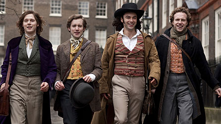 (l-r) Samuel Barnett as John Millais, Sam Crane as Fred Walters, Aidan Turner as Dante Gabriel Rossetti, Rafe Spall as William Holman Hunt