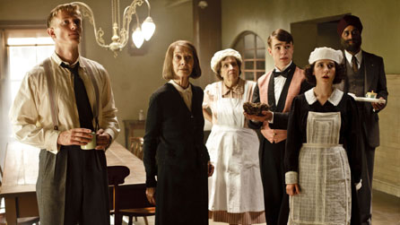 L-R: Harry Spargo (Neil Jackson), Rose Buck (Jean Marsh), Mrs Thackeray (Anne Reid), Johnny Proude (Nico Mirallegro), Ivy Morris (Ellie Kendrick) and Mr Amanjit (Art Malik)