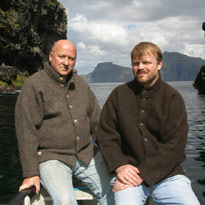 Gavin Bryars and Runi Brattaberg in the Faroes. Photo: Alan Brockie.