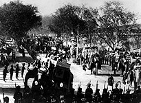 Elephant procession through Delhi to the great Durbar held to celebrate the coronation of Edward VII.(Getty Images/Hulton|Archive)