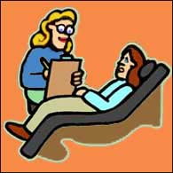 drawing of a person on a therapist couch with a seated therapist next to the couch