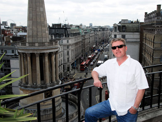 Suggs on the roof of Broadcasting House. Credit: Stan Was.