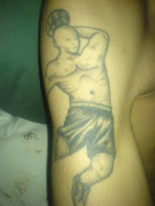 Matthew from Birmingham has a tattoo of someone playing his favourite sport