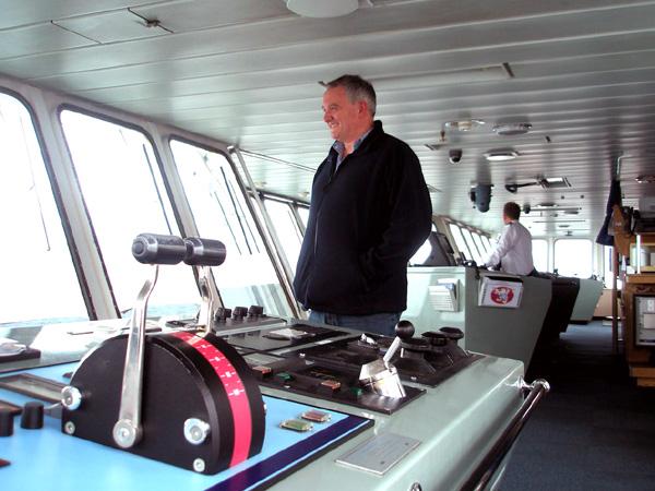 Mark on the bridge on the Calmac Arran ferry