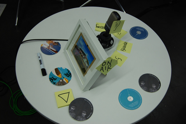 A picture frame with a camera