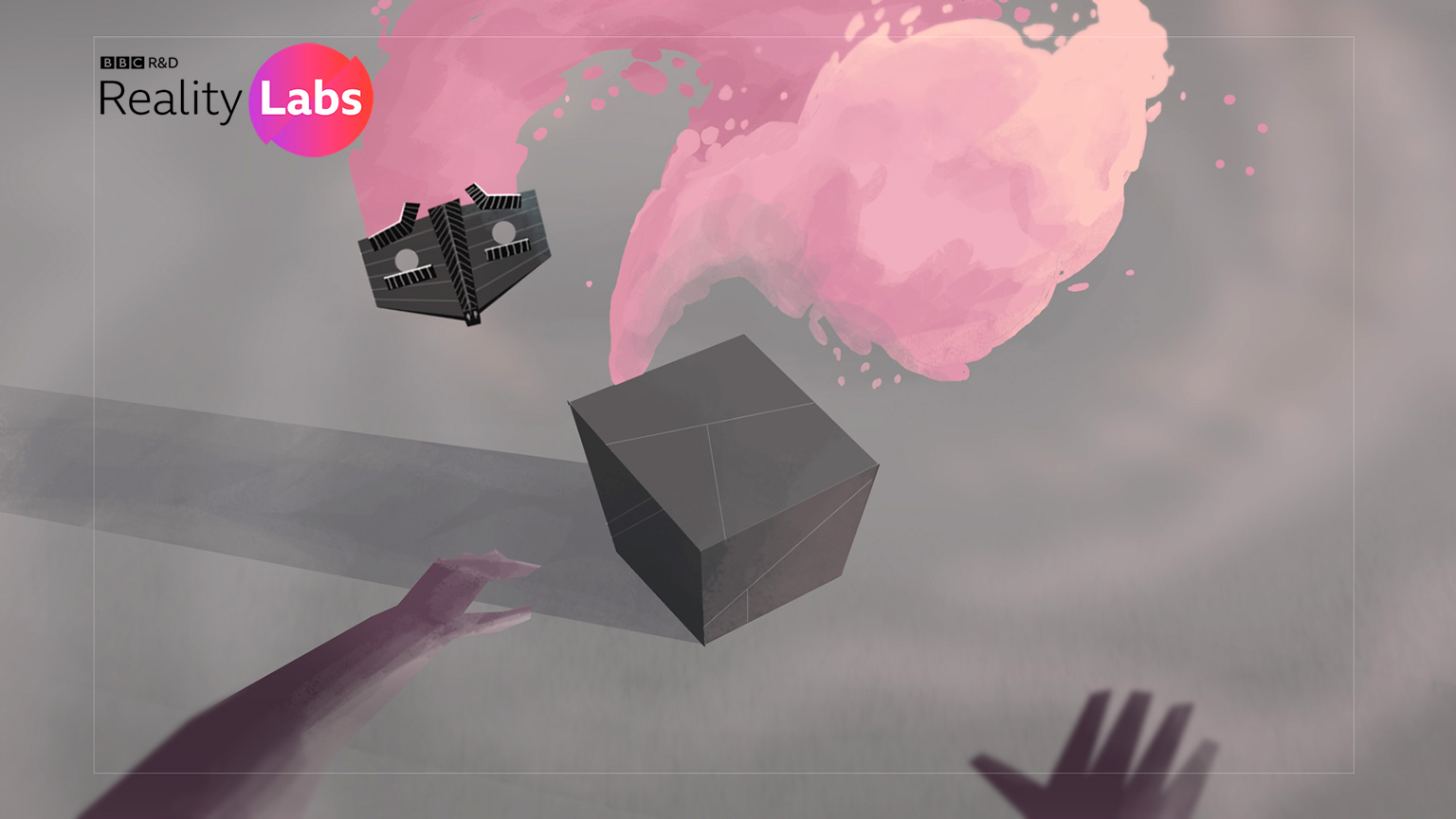 A scene from a virtual reality trial - a user's hands in virtual reality move towards a box with a face mask emerges from within followed by a trail of pink smoke.