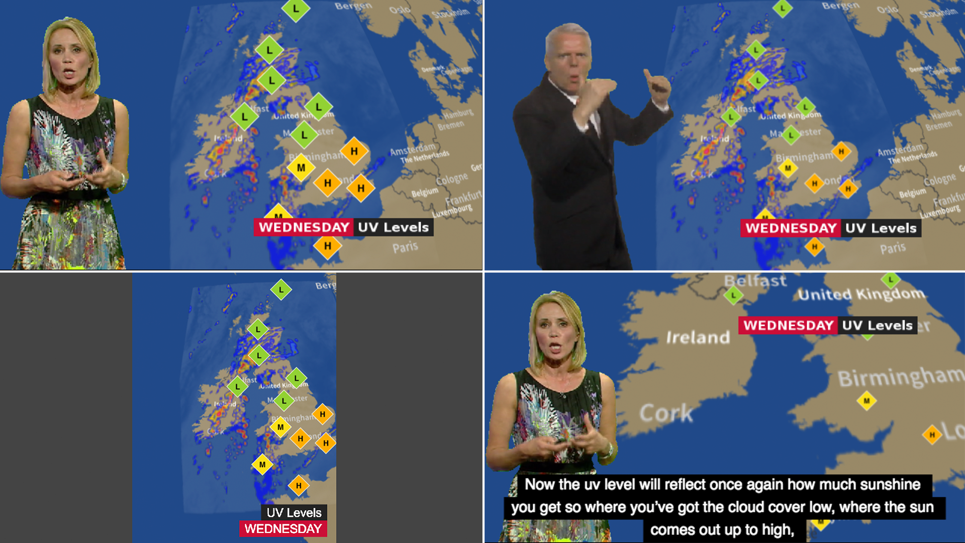 A montage of options available in our Forecaster experiment - a weather forecast displayed with and without sign language presentation, for mobile devices, with subtitles.