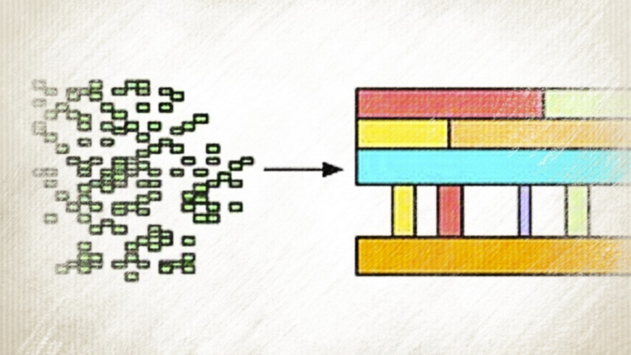 A graphic showing many small blocks coming together to create one structure - illustrating how Object-Based Composition works.