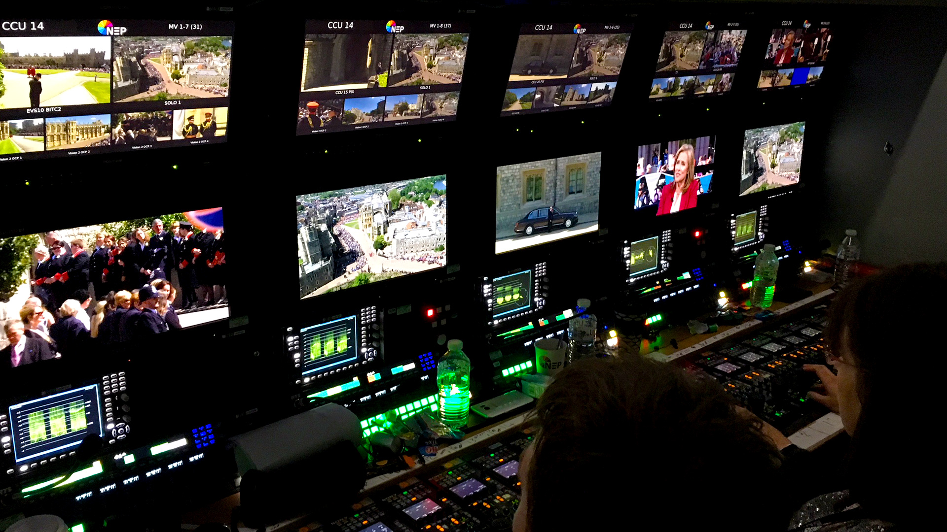 Inside the outside broadcast truck at the Royal Wedding.