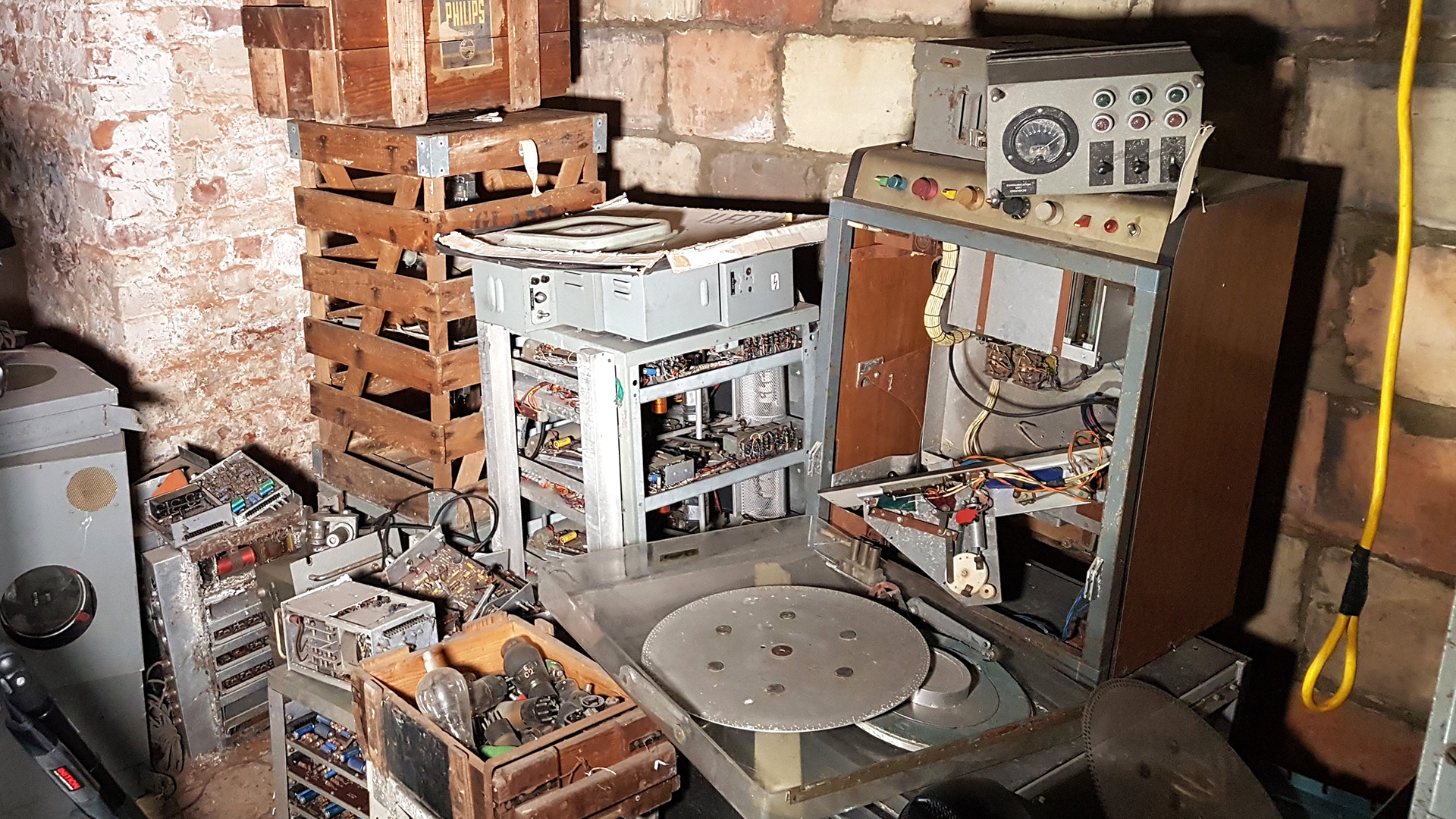 Old and abandoned broadcasting equipment in a disused area at Alexandra Palace.