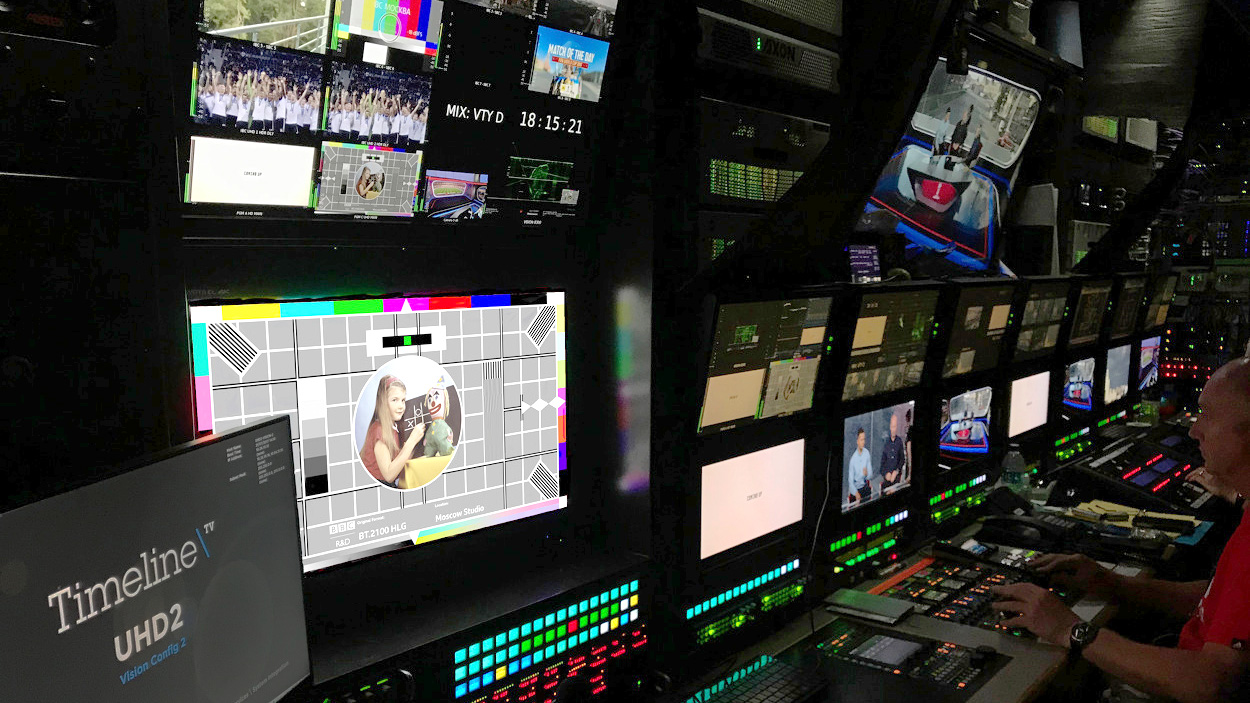 Inside the UHD OB truck at the 2018 World Cup.