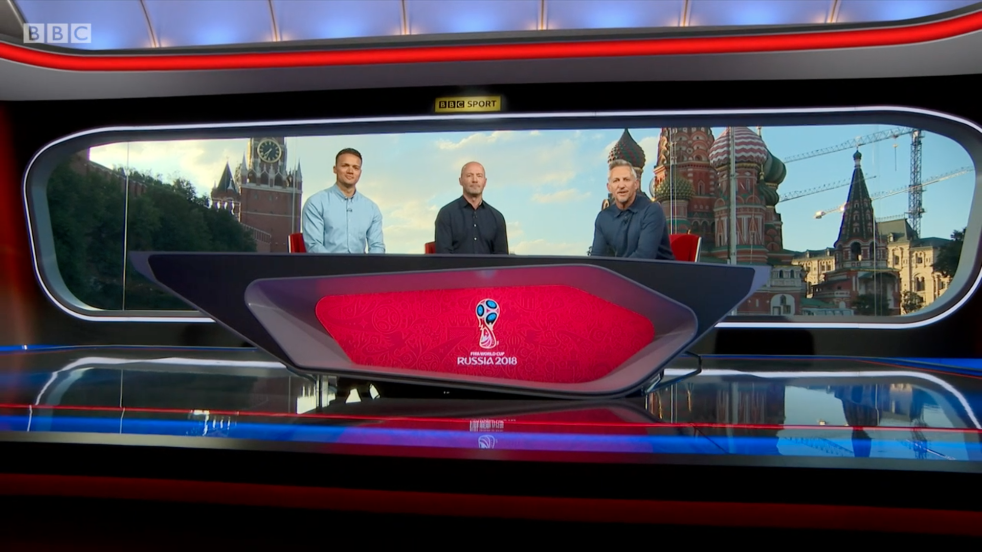 The BBC World Cup 2018 presenting team in the Moscow studio.